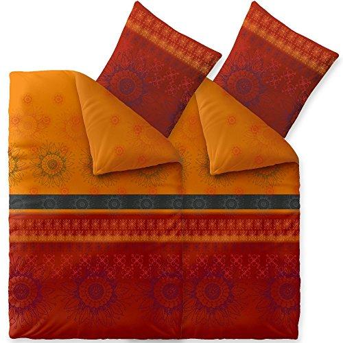 Bettwäsche 4tlg 135x200 Baumwolle Set Kopfkissen Bettbezug Reißverschluss atmungsaktiv Bett Garnitur 80x80 Kissen Bezug CelinaTex 6000005 Fashion Legra rot orange grau