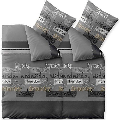 Bettwäsche 4tlg 135x200 Baumwolle Set Kopfkissen Bettbezug Reißverschluss atmungsaktiv Bett Garnitur 80x80 Kissen Bezug CelinaTex 6000353 Fashion Crazy grau anthrazit weiß schwarz