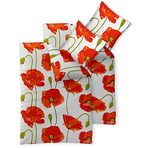 Bettwäsche 4tlg 155x200 Baumwolle Set Kopfkissen Bettbezug Reißverschluss atmungsaktiv Bett Garnitur 80x80 Kissen Bezug CelinaTex 6000097 Fashion Isabella rot weiß Mohn Blume