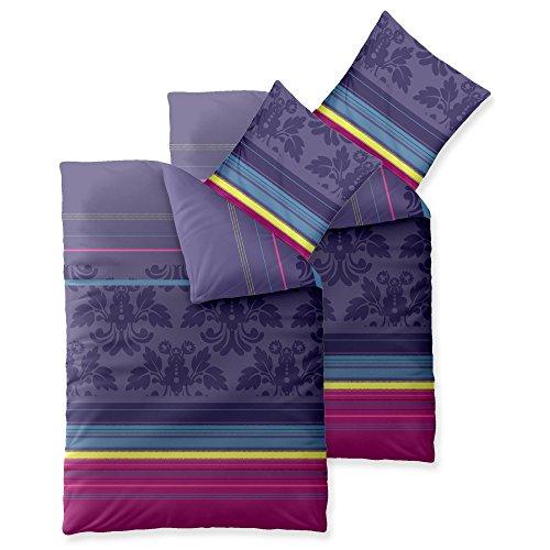 Bettwäsche 4tlg 155x220 Baumwolle Set Kopfkissen Bettbezug Reißverschluss atmungsaktiv Bett 80x80 Kissen Streifen Punkte lila türkis pink violett grün grau aqua-texti 0011849 Trend Daria