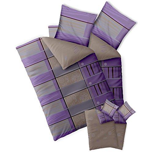 Bettwäsche 4tlg 155x220 Baumwolle Set Kopfkissen Bettbezug Reißverschluss atmungsaktiv Bett Garnitur 80x80 Kissen Bezug CelinaTex 0003900 Fashion Aleksi grau violett