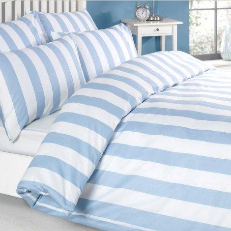 Bettwäsche Bettbezug Set Blau Weiss weiß Gestreiften 100% Baumwolle Kissenbezug Bettdecke, 200x200 140x200 230x220 260x220 (230 x 220 cm)