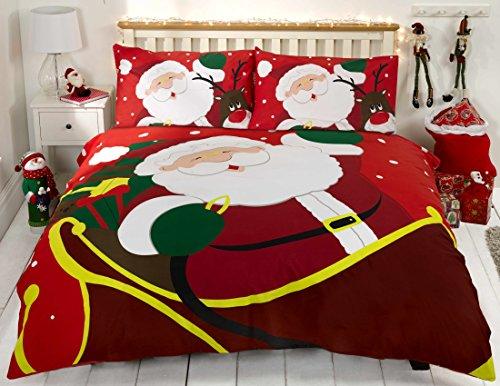 Bettwäsche Bettbezug Set Rot Weihnachten 100% Baumwolle Kopfkissenbezüge Bettdecke, 200x200 135x200 230x220 260x220, Jungen mädchen (200 x 200cm)