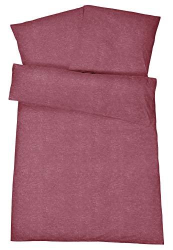 Carpe Sonno Flauschige Biber-Bettwäsche 135 x 200 cm Himbeer Rot Uni Melange Muster - Winter-Bettwäsche mit Reißverschluss aus 100% Baumwolle Flanell - 2-TLG Bettwäsche Set mit Kopfkissen-Bezug