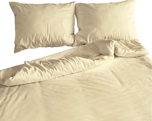 Carpe Sonno Kühle Mako-Satin Bettwäsche in der Übergröße 200 x 220 cm Creme aus 100% Baumwolle für besten Schlafkomfort – Hotelbettwäsche Set mit Kopfkissen-Bezügen