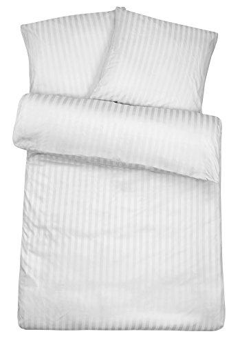 Carpe Sonno Luxuriöse Damast Bettwäsche in Exklusiver Hotelqualität 200 x 200 cm Weiß aus 100% Baumwolle für Besten Schlafkomfort – Hotelbettwäsche Set mit Kopfkissenbezügen und Edlen Damast-Streifen