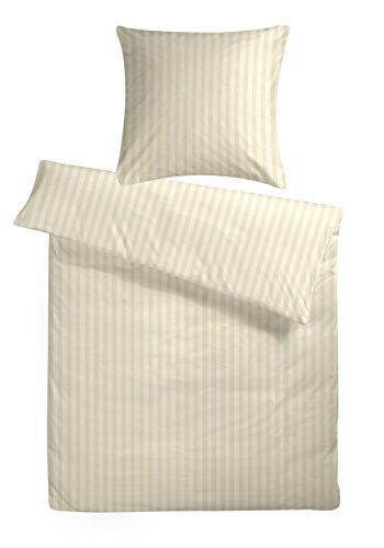 Carpe Sonno Luxuriöser Damast Bettbezug in der Übergröße 200 x 220 cm Creme Beige aus 100% Baumwolle für Besten Schlafkomfort – Hotel Bettwäsche Set mit Kopfkissen-Bezügen und Edlen Damast-Streifen