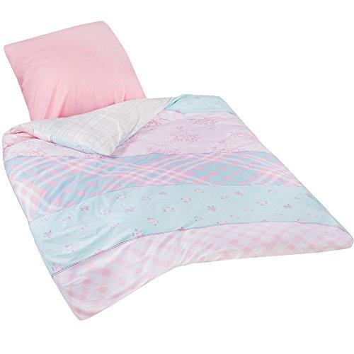 Casabel Bettwäsche-Set Betty 2-teilig | Bezug Bettdecke 135x200 / Kissenbezug 80x80 cm | 100% Baumwolle mit Reißverschluss | Oeko-Tex Zertifiziert | Bettbezug Rosa und Türkis mit Blumen