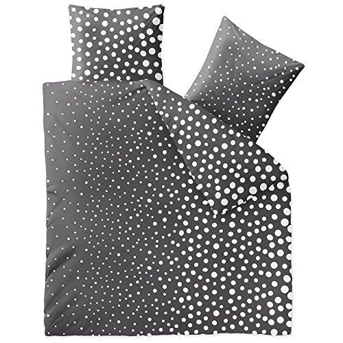 CelinaTex Touchme Tessa, Biber Bettwäsche 200 x 200 cm 3-teilig anthrazit dunkel grau weiß, Flauschiger Bettbezug, Punkte 5001042