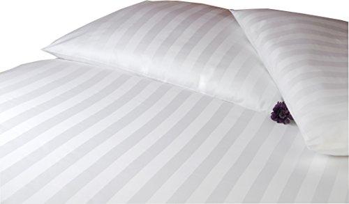 """Damast Hotel-Bettwäsche Set """"Balzana"""" 200 x 220 cm weiß streifen- Bettdecke und Kopfkissen-Bezug aus Satin-Baumwolle mit Reißverschluss - Der elegante 3-tlg Bett-Bezug mit leichtem Glanz für Paare"""