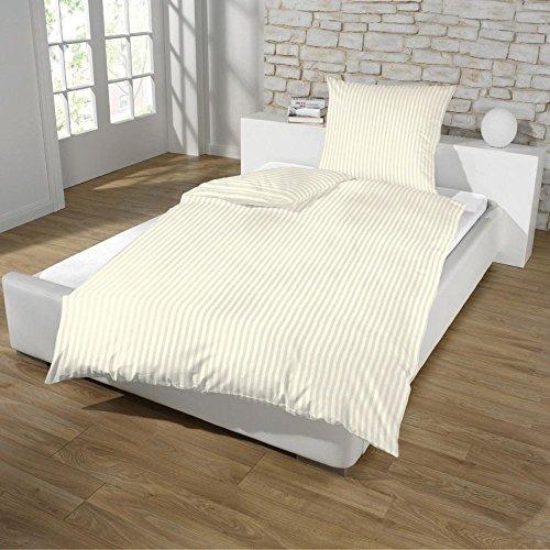 Dreamhome24 Hotel Damast Luxus Satin Baumwolle Bettwäsche 135x200 + 80x80 Kissenbezug Reißverschluss od Hotelverschluss, Farbe:BEIGE, Größe:HOTELVERSCHLUSS
