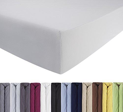 ENTSPANNO Jersey-Luxus-Spannbettlaken für Wasser- und Boxspringbett in Weiß aus gekämmter Baumwolle. Spannbetttuch mit Einlaufschutz, 180 x 200 | 200 x 200 | 200 x 220 cm, bis 40 cm Hohe Matratzen