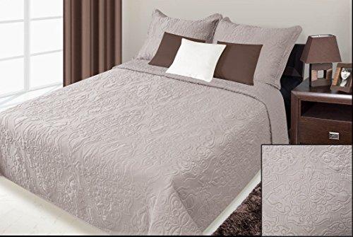 Eurofirany Tagesdecke Damask 220x240/50x70/x2 Eine schöne und luxuriöse Bettdecke Tagesdecke, Polyester, Brown, 220 x 240 x 1 cm