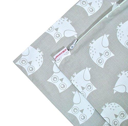 HOBEA-Germany Kinder Kissenbezug 50x50cm mit Reißverschluss in Verschiedenen Designs, ideal als Bezug für Sofakissen, Dekokissen oder Kopfkissen 100% Baumwolle, HOBEA Muster:Eulen grau beidseitig