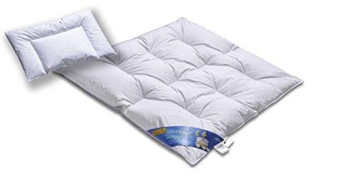 Hochwertiges Daunenbett & Daunendecke 100cm x 135cm und 40cm x 60cm | Daunen und Federn Klasse 1 | Hülle 100% Baumwolle weiß | voll waschbar | Praktische Tragetasche | Deutsches Qualitätsprodukt