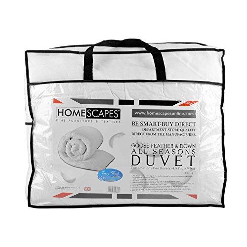 Homescapes Luxus - Vier Jahreszeiten - Bettdecke, 260 cm x 220 cm, Zwei Deckensystem - Gänsefedern und Daunen