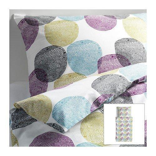 IKEA MALIN RUND Bettwäscheset in bunt; 2tlg. (155x220cm und 80x80cm); Kopfkissen und Bettbezug; 100% Baumwolle