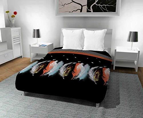 Intemporel Zeitlos Bedruckte Bettdecke 240x 220cm plumette, Polyester, Schwarz, 240x 220x 1cm