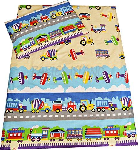 Kinder-Bettwäsche von Babie-Island mit Bettdecken- und Kopfkissenbezug, Lastwagen, Flugzeuge, Züge