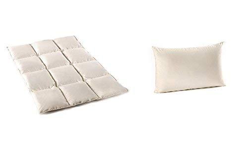 Kinder Set Luxus - 100% Natur Daunen/ Federn Bettdecke und Kissen 100x135 cm/ 40x60 cm