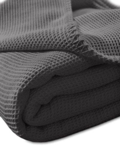 Kneer 9152284 La Diva Waffelpique-Decke mit Ziersticheinfassung 220/240 cm, Schiefer