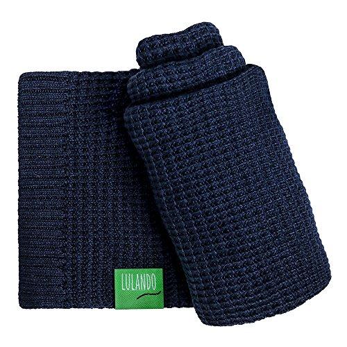 LULANDO Bambusdecke 80x100 cm, kleine Bettdecke, Zudecke für Kinderwagen, für jede Jahreszeit, 100 % naturreine Materialien, aus Baumwolle und Bambus, antiallergisch, umweltfreundlich(Navy Blue)
