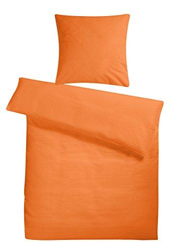 Leichtes Seersucker Bettwäsche Set 135 x 200 cm Orange – atmungsaktiver Bettdecken- und Kopfkissen-Bezug aus reiner Baumwolle mit Reißverschluss – 2 tlg. kühle Sommerbettwäsche Premium-Qualität
