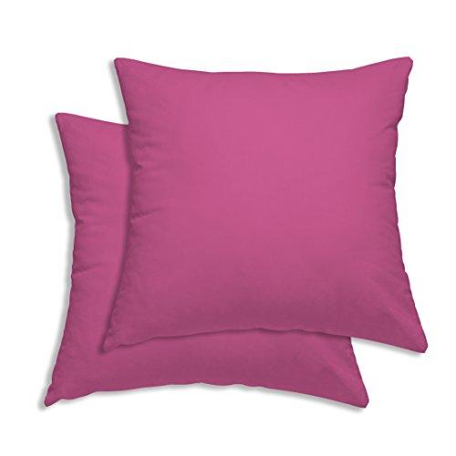 Leonado-Vicenti 2er Pack Kissen Kopfkissen Bezug Hülle 80x80cm pink Uni Baumwolle