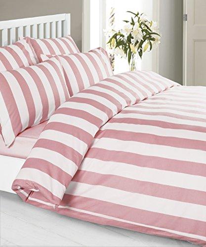 Louisiana Bettwäsche Vertikale Streifen rosa & weiß Bettbezug Set 100% Baumwolle 200 Fadenzahl Kissenbezug Bettdecke 230x220 cm + 2 x Kopfkissenbezug