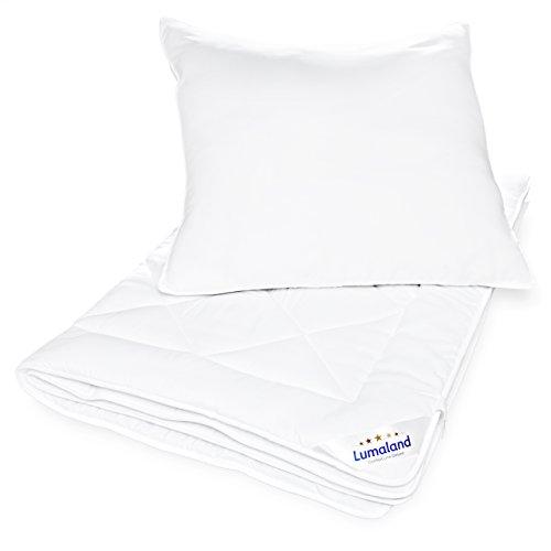 Lumaland Deluxe Bettwaren Set Ganzjahr Mikrofaser Bettdecke und Kopfkissen 135 x 200cm