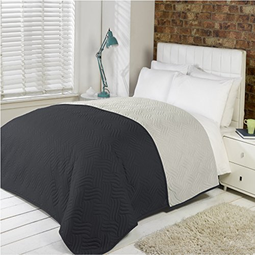Luxus Weich Gesteppt Bettdecke Microfibre Überwurf Tagesdecke Bettwäsche Passt Doppelbett Größe Bett - Schwarz