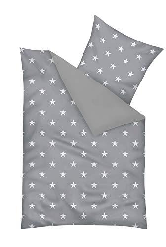 Mikrofaser Bettwäsche-Set mit Sterne Muster - Deckenbezug 155 x 220 cm/Kissenbezug 80 x 80 cm - XXL Bettbezug mit ÖkoTex100 - Bettgarnitur Nicht Nur für Kinder und Jugendliche, Farbe:Grau