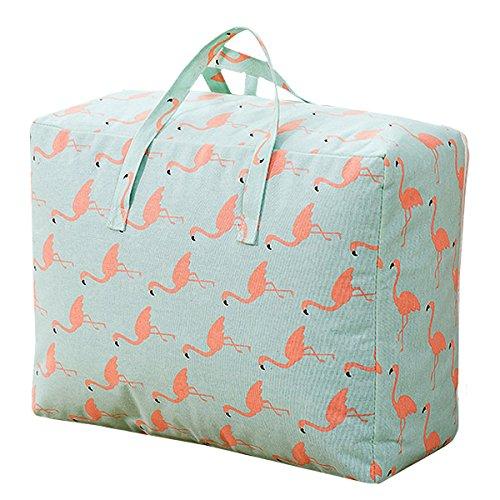 Milya Aufbewahrungstasche für Bettdecken und Kissen, Tragetasche für Bettzeug oder Matratzenauflagen, Wasserdicht aus Baumwolle Leinen Stoff, mit zwei Griffen Reissverschluss, 59*52*25cm, Flamingo