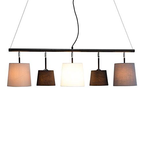 Moderne Hängeleuchte LEVELS 100 cm schwarz grau weiß Design by KARE Deckenlampe E14 Pendelleuchte Leinen
