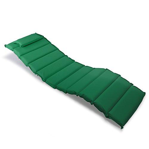 Nexos Divero Liegenauflage – Auflage gesteppt Polster für Sonnenliege Gartenliege Holzliege Saunaliege mit Kopfkissen – bequem hochwertig robust – grün
