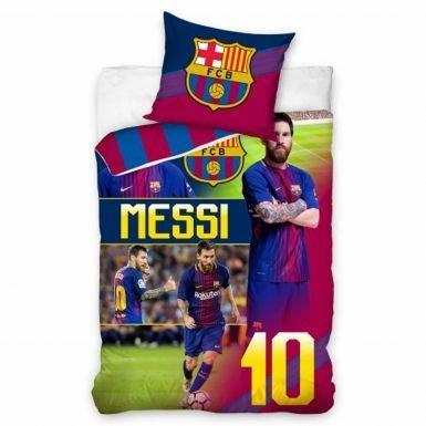 Offizielles Lionel Messi & FC Barcelona Single Reversible Bettbezug und Kissenbezug Set (100% Baumwolle)