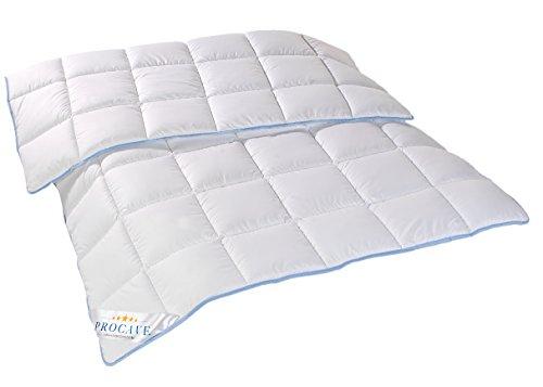 PROCAVE | TopCool Qualitäts-Bettdecke für das ganze Jahr | Entspannt schlafen - absorbiert Körperfeuchtigkeit | Atmungsaktive Steppdecke in weiß in 155x220 cm | Soft-Komfort Bettdecken | kochfest | Made in Germany