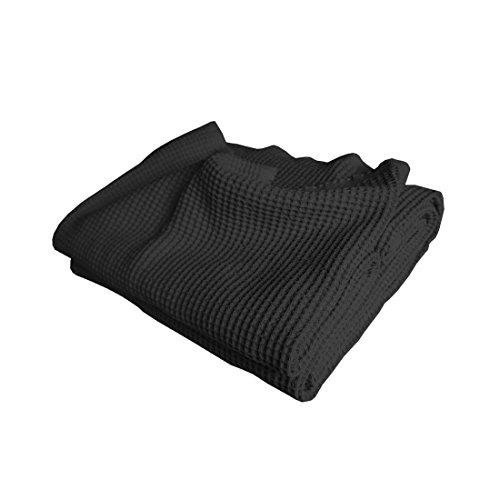 Qool24 Baumwolle Waffelpique Bettüberwurf Bettlaken Tagesdecke Waffelpikee Bettdecke Überwurf Decke Pikee 16 Farben und 4 Größen Schwarz 130x210 cm