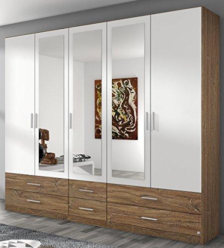 Rauch Kleiderschrank 5-türig, 3 Spiegeltüren, 6 Schubkästen, Eiche Stirling-alpinweiß