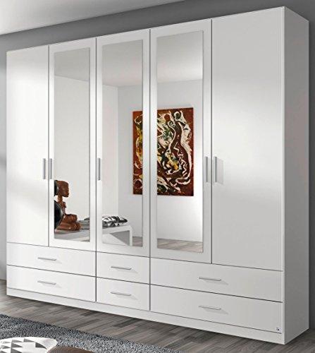Rauch Kleiderschrank 5-türig, 3 Spiegeltüren, 6 Schubkästen, alpinweiß