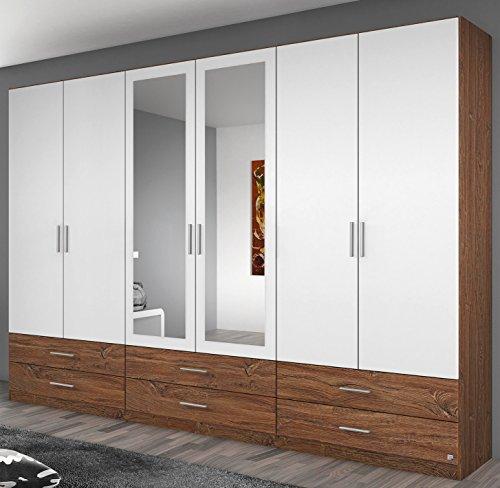 Rauch Kleiderschrank 6-türig, 2 Spiegeltüren, 6 Schubkästen, Eiche Stirling-alpinweiß