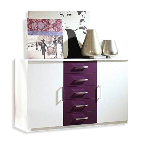 Rauch Kommode Schlafzimmerschrank mit 5 Schubladen Weiß Alpin, Absetzung Brombeer, BxHxT 149x86x38 cm
