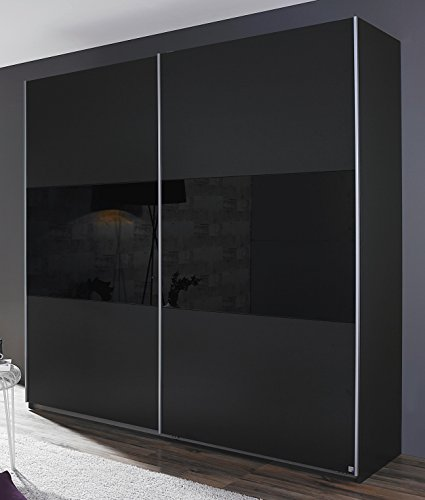 Rauch Schwebetürenschrank 2-türig Grau Metallic/Glas Schwarz 175 x 210 x 59 cm