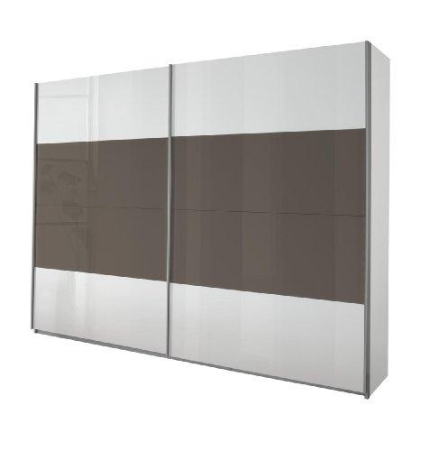 Rauch Schwebetürenschrank 2-türig Weiß Alpin, Absetzung Glas Lavagrau, BxHxT 181x230x62 cm