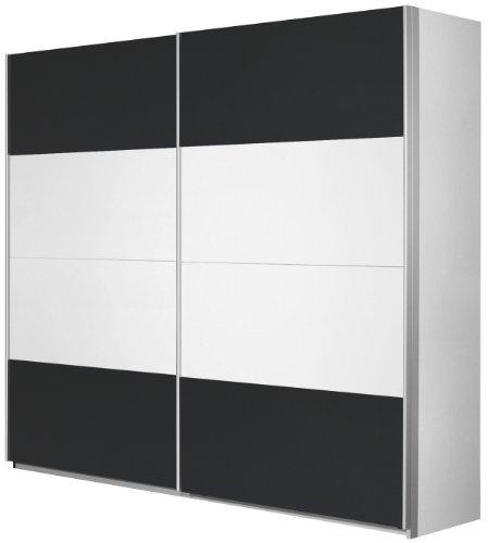Rauch Schwebetürenschrank 2-türig Weiß Alpin, Absetzung Grau Metallic Nachbildung, BxHxT 270x210x62 cm