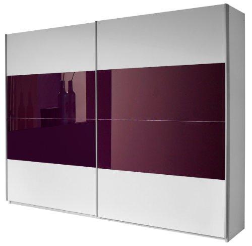 Rauch Schwebetürenschrank 2-türig Weiß Alpin, Glas Absetzung Brombeer, BxHxT 271x210x62 cm