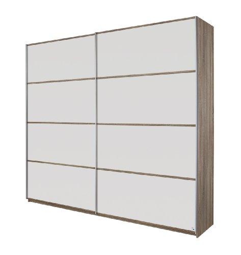 Rauch Schwebetürenschrank Kleiderschrank Weiß Alpin 2-türig, Korpus und Eiche Havanna, BxHxT 181x210x62 cm