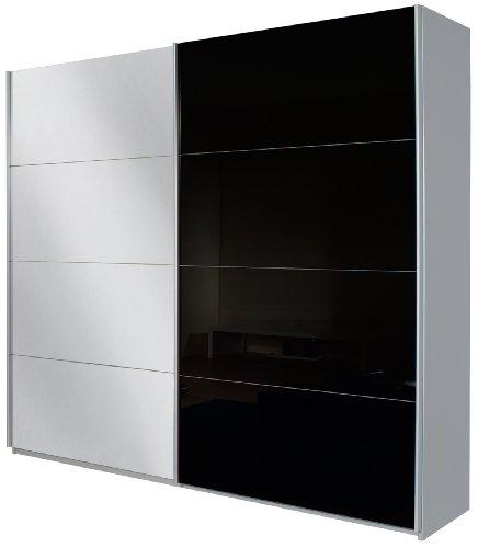 Rauch Schwebetürenschrank mit Spiegel 2-türig, Glas Schwarz, Korpus Alu gebürstet Nachbildung, BxHxT 136x210x62 cm