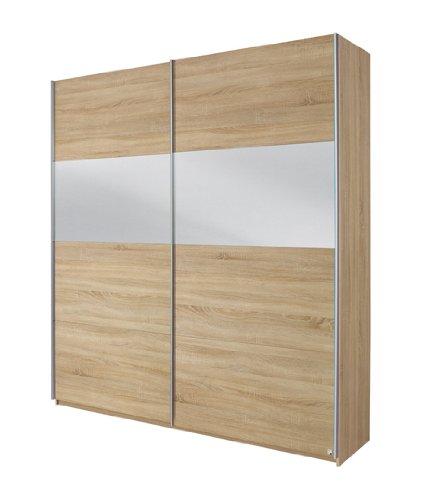 Rauch Schwebetürenschrank mit Spiegel Eiche Sonoma 2-türig, BxHxT 181x210x62 cm