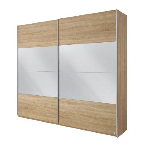 Rauch Schwebetürenschrank mit Spiegel Eiche Sonoma Nachbildung, 2-türig, BxHxT 226x210x62 cm